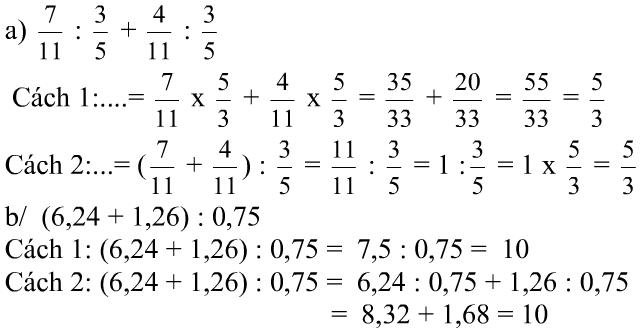 Giải bài tập SGK Toán 5: Ôn tập phép chia trang 163, 164