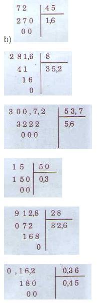 Giải bài tập SGK Toán 5: Luyện tập phép chia trang 164, 165