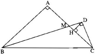 """Bài 1: Góc ở tâm. Số đo cung – Giải bài 1.1 ->1.10 – Sách Bài Tập Toán 9 Tập 1″ title=""""Bài 1: Góc ở tâm. Số đo cung – Giải bài 1.1 ->1.10 – Sách Bài Tập Toán 9 Tập 1″ /></strong></p> <p>a) Hai tam giác vuông HCD và DCM đồng dạng ( có cùng góc nhọn tại C) mà ∆DCM đồng dạng với ∆ABM ( vì là hai tam giác vuông có (widehat {DMC} = widehat {AMB}), vậy ∆HCD đồng dạng với ∆ABM. Khẳng định a) đúng.</p> <p>b) Theo câu a), từ AB = 2AM, suy ra HC = 2HD. Ta có HC < MC ( H là chân đường cao hạ từ D của tam giác DCM vuông tại D) nên HC = 2HD < MC = AM < AH ( do M nằm giữa A và H), vì thế 2HD không thể bằng AH. Khẳng định b) là sai.</p> <p></p> <hr /> <p><strong>Câu 1.10. Trang 106 Sách Bài Tập (SBT) Toán 9 Tập 1</strong></p> <p>Cho hình thang ABCD vuông tại A có cạnh đáy AB bằng 6cm, cạnh bên AD bằng 4cm và hai đường chéo vuông góc với nhau. Tính độ dài các cạnh DC, CB và đường chéo DB.</p> <p><strong>Gợi ý làm bài:</strong></p> <p><img class="""