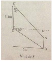 Bài 5. Ứng dụng thực tế các tỉ số lượng giác của góc nhọn - Sách bài tập Toán 9 tập 1
