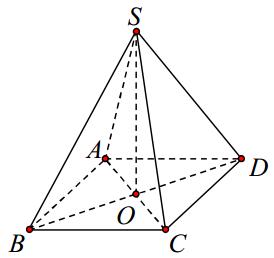Cho hình chóp tứ giác đều S.ABCD có cạnh bên bằng a, góc giữa cạnh bên hợp với mặt đáy bằng ({60^o}.) Tính theo a thể tích khối chóp.