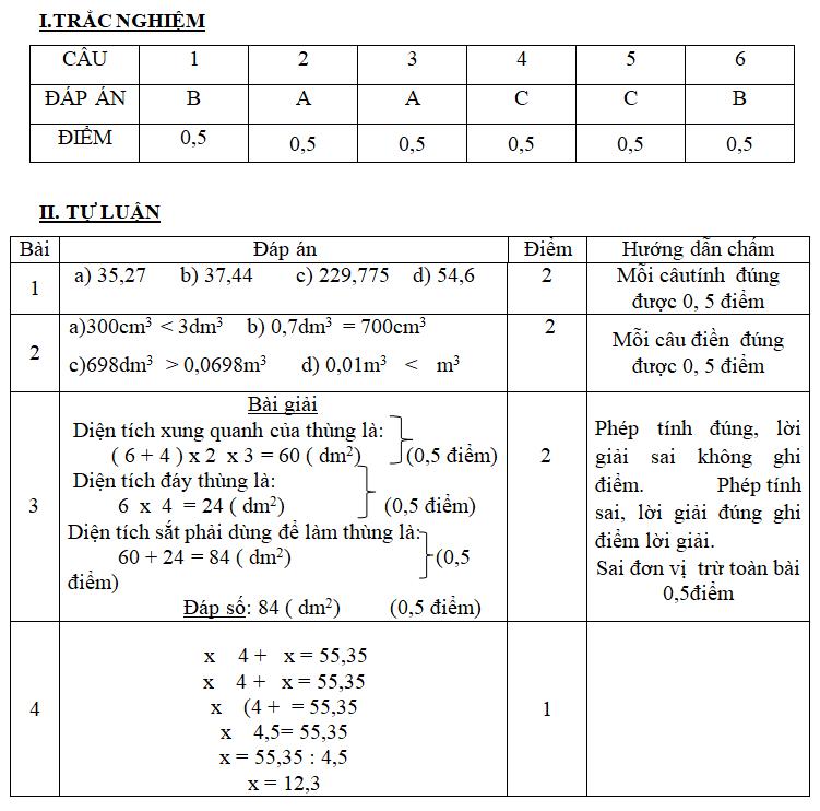Đề thi HK2 Toán lớp 5 – số 3